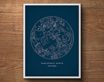 Star Map Print, Northern Hemisphere Star Chart, Constellation Print, Star Map, Celestial Wall Art, Astronomy Poster, Nautical Decor