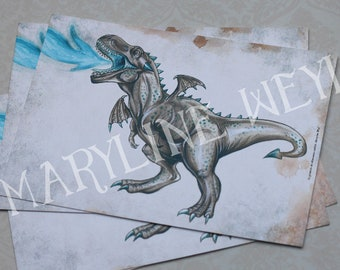 map postcard dinosaur Tyrannosaurus Rex