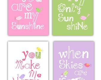 Pink and Green Nursery Art Prints // Pink Nursery Decor //  Pink and Purple Art // You Are My Sunshine Decor // 4-8x10 PRINTS ONLY