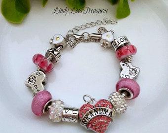 Pink Grandma Charm Bracelet, Proud Grandma Bracelet, Vintage Silver Charm Bracelet, Gift for Grandma, Grandma Bracelet, Mothers Day Gift