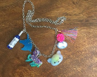 Seven Charm Necklace  Blue and Purple