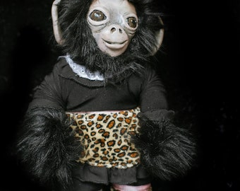 OOAK fine art doll: Fuzzy Monkey with Animal Print Party Frock and Plumed Pillbox Hat