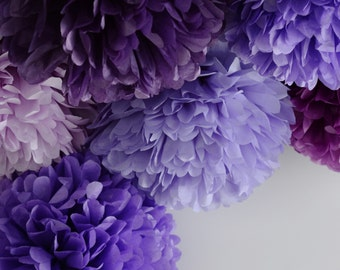 All purples  - 15 mixed sizes Tissue paper Pom Poms set  - paper pompoms -very fluffy -wedding party  decorations