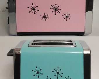 Pink Retro Style Toaster with Black Starburst ,Wide Slot Toaster or Choose Your Color