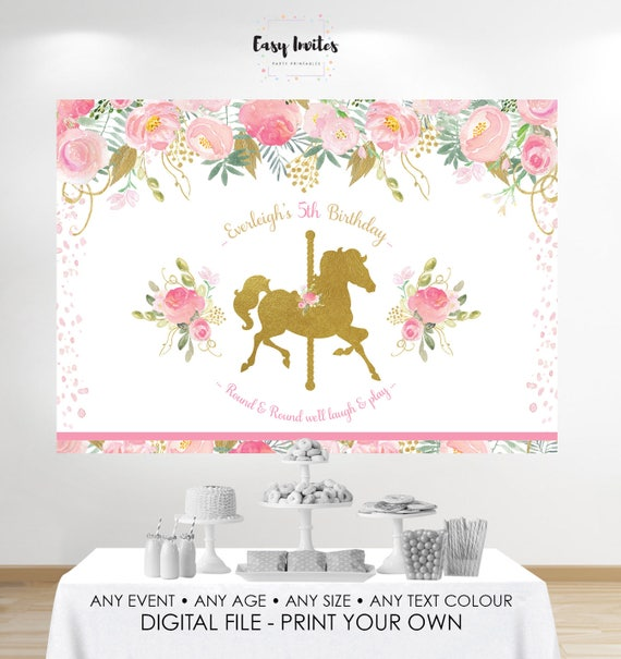 Carousel Birthday Banner Carousel Backdrop Baby Shower
