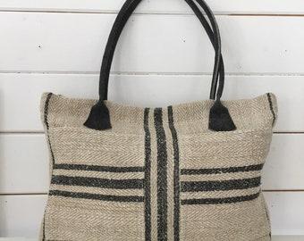 Upcycled Black Stripe Pocket Handbag Vintage Hungarian Striped Linen Leather Straps Pockets Organiser Hand Bag