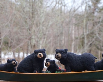 Needle Felted Black Bears in Canoe- Needlefelted Wool Animal Soft Sculpture by McBride House