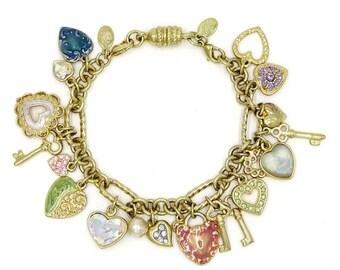 Kirks Folly Sweetheart Heart Keys Moon Charm Bracelet Adjustable
