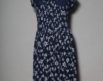 70 Blue Navy dress with white flower