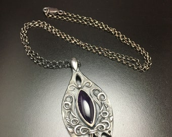 Mystic.    Sterling Silver, Fine Silver and Amethyst Pendant