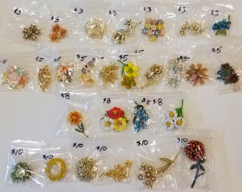 Vintage Small Flower Cluster Brooches - each marked with price - buy 1 or more!