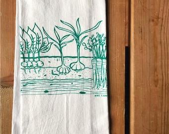 Flour Sack Tea Towel - Veggie Garden - Hand Printed Original illustration - PNW, nature, outdoors, gardening, vegetables