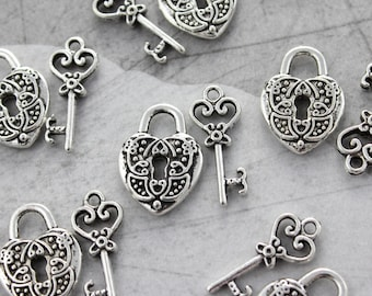 5 Set Antique Silver Heart Small Lock & Key Charms