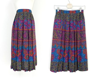 Vintage 90s Abstract Floral Print Full Women's Midi Skirt - Colorful High Waisted Long Pleated Boho Skirt - Size Small