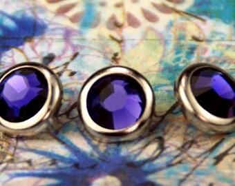 10 purple Velvet cristal cheveux boutons pressions - rond bord d'argent édition--faite avec des strass Swarovski Element