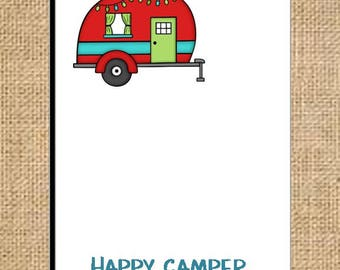 RV Camping Personalized Happy Camper Notepads perfect for Christmas Pollyanna gifts ~ holiday gift giving for Friend, Mother or Sister