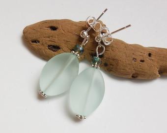 Seafoam Green Sea Glass Earrings, Sea Glass Jewelry, Seaglass Earrings, Seaglass Jewelry, Beach Glass, Beach Glass Earrings. Free US Ship