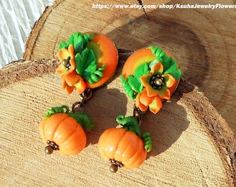 Halloween Earrings Pumpkin Earrings Halloween pumpkin polymer clay Jewelery fall Autumn earrings Pumpkin stud earrings Fall gift for her