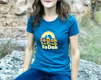 Women's SoDak Tee - Women's South Dakota Heather Teal T-shirt - SoDak Retro Camping Screen Printed Women's and Girls Tee by Oh Geez! Design