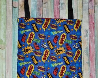 Nerditotes Handmade Handsewn  Comic Book Words Tote Bag