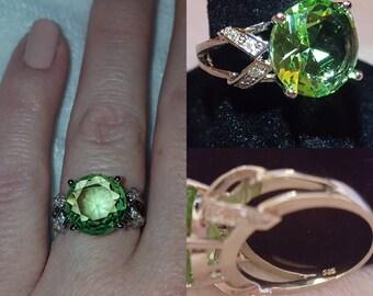 Green Amethyst Silver Ring, size 7