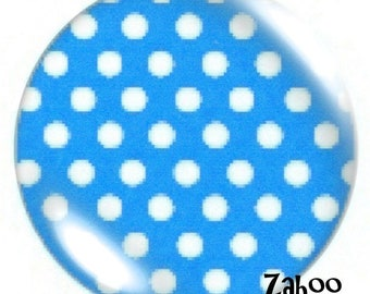 1 cabochon 30mm glass, turquoise polka dots