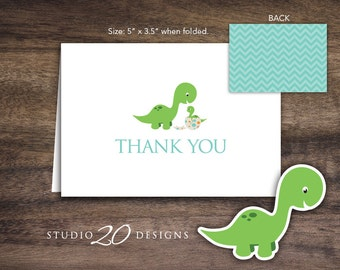 Instant Download Dinosaur Thank You Card, Folded Teal Orange Dinosaur Baby Shower Thank You Card, Dinosaur Birthday Thank You Card 59A