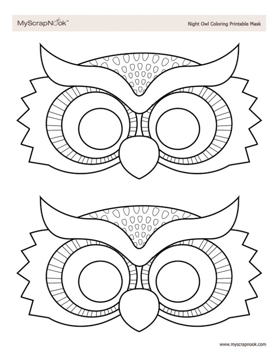 Máscara de búho para colorear