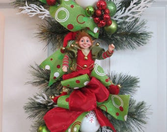 Elf wreath, Christmas Wreath, Christmas swag, Front Door Swag, Front door wreath, Elf front door ,