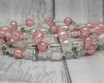 Pink pearl bracelet- silver and pearl memory wire bracelet - beaded wrap bracelet - silver wrap bracelet - baroque cultured pearl bracelet