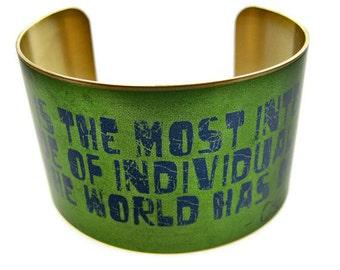 "OSCAR WILDE cuff bracelet ""Art is the most intense..."" brass Gifts for her"