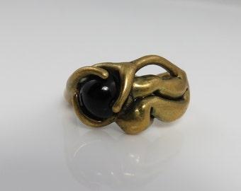 Vintage  Brutalist Brass Onyx Modernist Studio Ring.