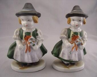 "Set of Occupied Japan Bavarian Flower Girl Figurines 4 1/2"" 1940s"