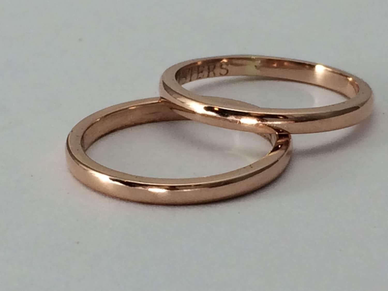Rose gold wedding band pink gold ring plain gold ring gift