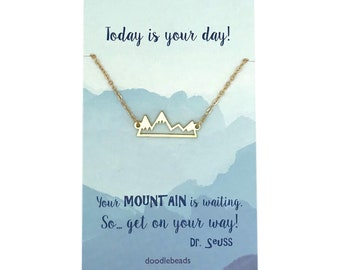Gold or Silver Mountain Necklace, Bar Mountain Necklace, with card Your mountain is waiting, birthday Jewelry gift for her, graduation gift