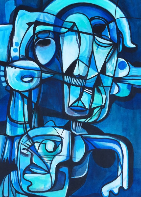 "Blue Man - Original Painting on Wood Panel - 24"" x 36"""