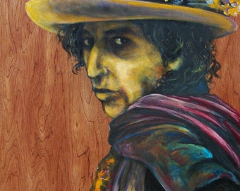 Bob Dylan Woodgrain 15 x 26- Giclee Print of Original Painting