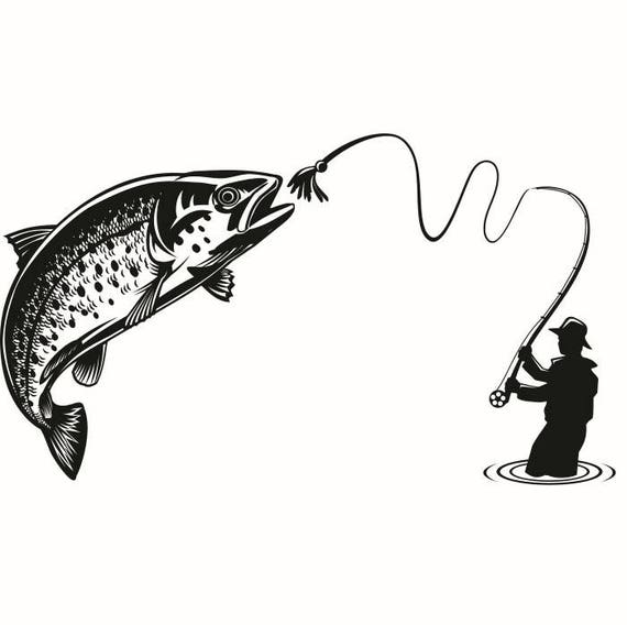 Fly Fishing 1 Fisherman Trout Fish River Lures .SVG .EPS