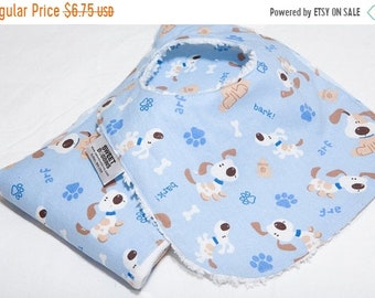 Spring Sale Doggies in Blue - Infant or Toddler Bib - Terry Cloth Backing - Reversible with ADJUSTABLE Snaps