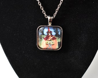 Handmade glass tile art pendant necklace with chain, Halloween red witch girl and cat tea with pumpkin, lute, haunted forest, cat dress