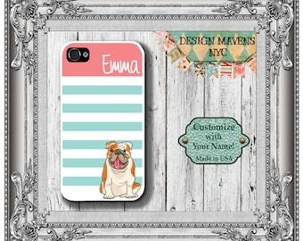 Personalized iPhone Case, Bulldog iPhone Case, Pet Phone Case, iPhone 4, 4s, iPhone 5, 5s, 5c, iPhone 6, 6s, 6 Plus, SE, iPhone 7, 7 Plus