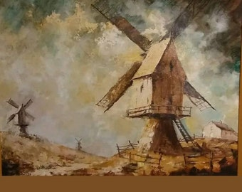 JEAN KEUTERICKX Well Listed California Art Artist Mid Century Plein Air Windmill Scene Painting