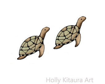 Mini Vinyl Decal Sticker Turtle x 2 - small - mini - little