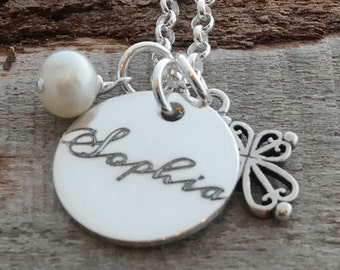 Cross and Pearl Personalized Necklace - Engraved