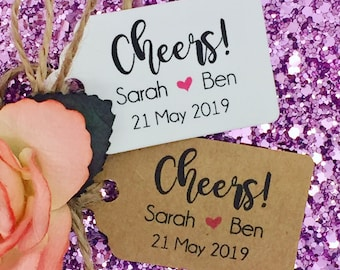 Cheers Personalised Wedding ALCOHOL Favour Gift Tag Miniature Bottle