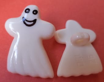23 mm x 17 mm white 4 buttons for kids (2395) spirit button ghost