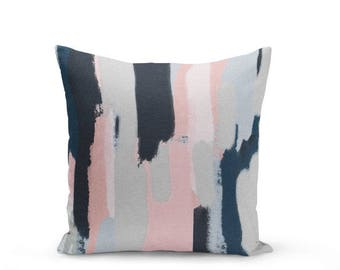 Pink Navy Pillow Cover, Cushion Cover, Abstract Art, Blush Pink Navy Grey , Decorative Throw Pillow Cover