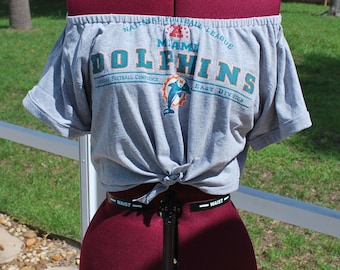 Miami Dolphins Shirt Upcycled Off Shoulder Cropped with tie Waist, One Shoulder Size M-L