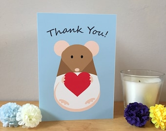 Fancy Hooded Rat Thank You Card, Blank Greeting Card, Brown Hooded Rat With Heart, Rat Owner Product, Cute Animal Card With Envelope