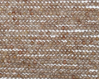 """13"""" Strand Natural Zircon Faceted Round Beads 2mm."""